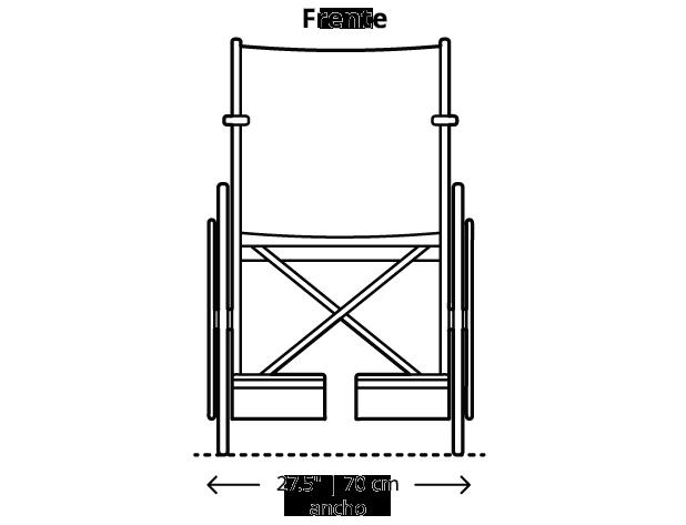 La dimensión máxima para sillas de ruedas es 27.5 pulgadas (70 centímetros) de ancho.