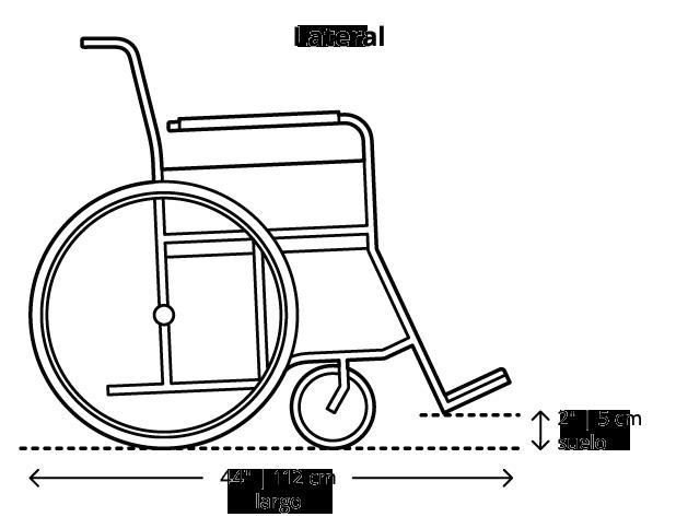 La dimensión máxima para sillas de ruedas es de 48 pulgadas (123 centímetros) de largo cuando está ocupada, con un mínimo de 2 pulgadas (5 centímetros) de distancia al suelo.